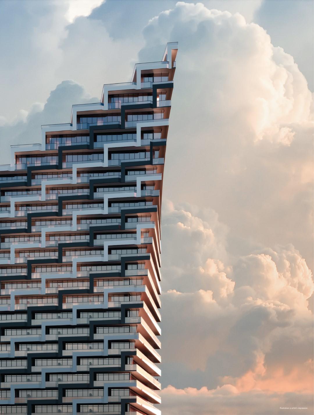 M3 M-city condos rendering of building crown