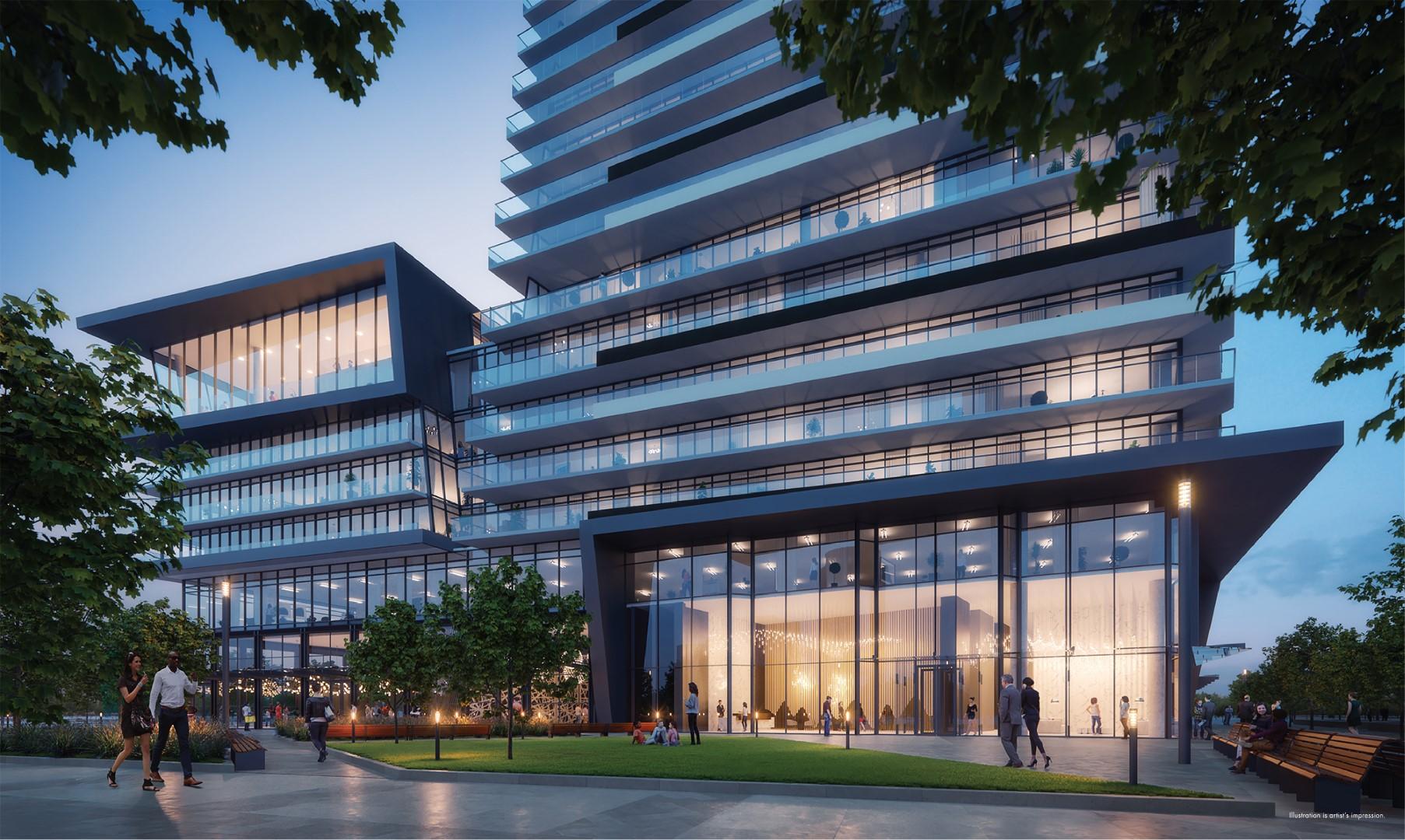 M3 M-city condos rendering of park exterior evening