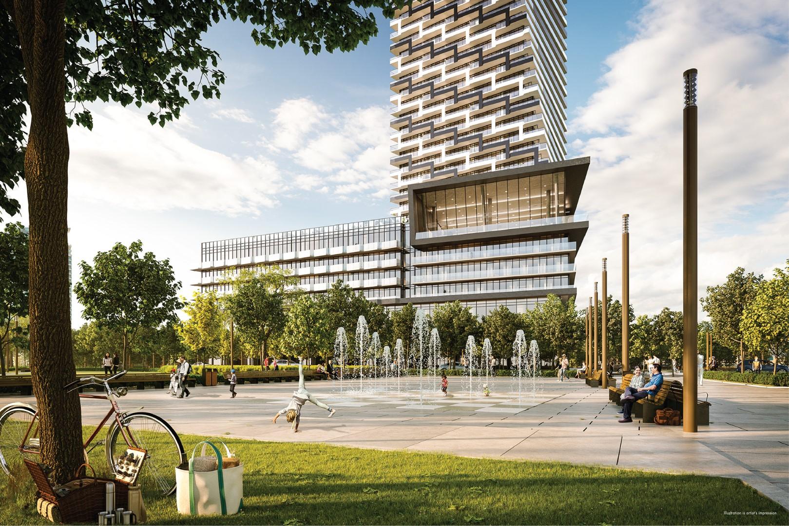 M3 M-city condos rendering of park exterior